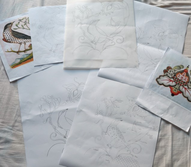 Some of the many pieces of paper...