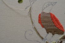 Starting to stem stitch the left hand branch.