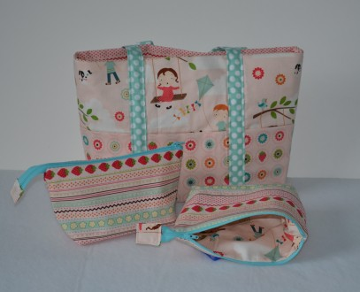 Bag and pouches.
