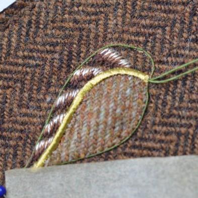 Sewing on tweed.