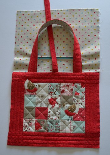 Bag front and lining.