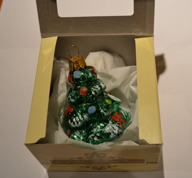 Hand blown tree decoration