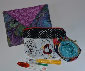 Jewellery case, seam rippers and snippers